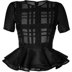 PRABAL GURUNG Plaid Peplum Top In Black ($775) ❤ liked on Polyvore featuring tops, shirts, blouses, peplum, black peplum top, evening tops, black peplum shirt, plaid top and shirts & tops