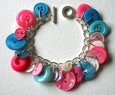 Hot Pink and Aqua Blue Button Charm Bracelet by MrsGibson on Etsy, $29.50    Teampinterest