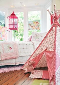 darling girl's room- love the tent and that birdcage chandelier!