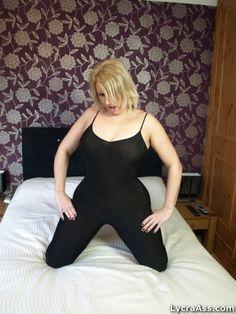 "British UK adult web model Daniella English in lycra cat suit posing for her website ""lycra ass"""