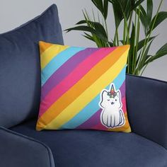 #kitty #pillow #colorful #unicorn #catlovers #caticorn #hapiness