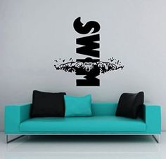 Wall Decals Swimming Sport Logo Swim Emblem Swimmer Kids Room Nursery Gift Office Window Wall Vinyl Decal Stickers Bedroom Murals