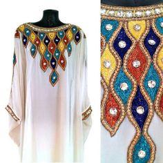 White Gold Farasha Kaftan Maxi Dress Multi Coloured by Jywal
