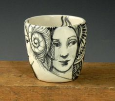 Black and white OOAK porcelain cup tea bowl with by PSPorcelain
