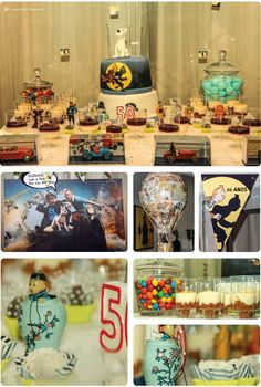 Details of the dessert table for this Tintin themed party