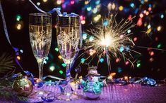 Download wallpapers Happy New Year, champagne, snowmen, Bengal lights, glasses, New Year 2018, xmas, Christmas