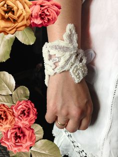 Beaded #embroidery #bracelet for a bride