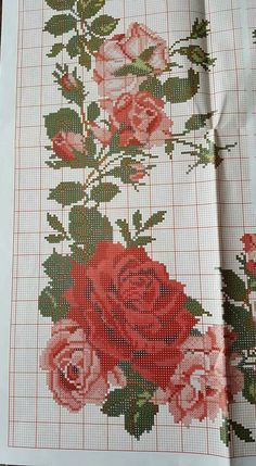 This Pin was discovered by Özn Cross Stitch Borders, Cross Stitch Rose, Cross Stitch Flowers, Cross Stitch Charts, Cross Stitch Patterns, Embroidery Patterns Free, Beaded Embroidery, Hand Embroidery, Free To Use Images