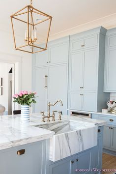 Marble Farmhouse Sink Gold Hardware Pastel Blue Kitchen Cabinets Bright Clean Home Design Decor laundryroomcolors Kitchen Inspirations, House Design, Blue Kitchens, House Interior, Beautiful Kitchens, Home, Interior, Blue Cabinets, Home Decor