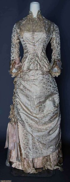 Silk Brocade Wedding Dress, 1880, 2-piece, pale pink brocade flowers on cream silk faille, bodice & skirt trimmed w/ blonde lace, removable ruffled modesty neckpiece, cotton, satin & buckram linings