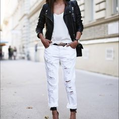 White boyfriend jeans These jeans have to be one of my favorite jeans however they have shrunk ! Worn 2x and washed 1x but realized they became smaller with the wash. Look super sleek in all white or add some color to your outfit. Distressed and high waisted, purchased from a boutique out on LA strip. (Cover photo only used for inspo) length 36 inches width lying flat 13.5 inches Signature 8 Jeans Boyfriend