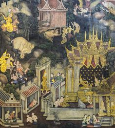 BANGKOK THAILAND NOVEMBER 5 2014 Ancient Buddhist temple mural painting of the…