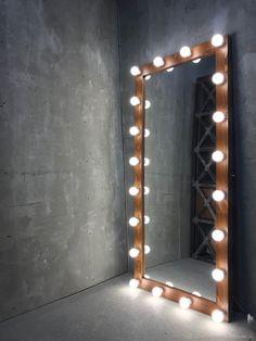 Купить Зеркало AMERICAN WALNUT в интернет магазине на Ярмарке Мастеров Boutique Interior, Boutique Decor, Bulb Mirror, Diy Mirror, Mirrors, Diy Wall Decor For Bedroom, Bedroom Wall Designs, Mirror With Built In Lights, Full Body Mirror