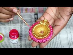 YouTube Diya diya Decor ideas/Diya Painting for Diwali/Earthlamp coloring idea Diy Butterfly Decorations, Diya Decoration Ideas, Diwali Decorations At Home, Festival Decorations, Cd Crafts, Diy Crafts For Home Decor, Diwali Craft For Children, Greeting Cards For Teachers, Diya Designs