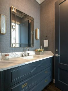 Shaped corner on side splash elevates design leeann.baker.powder.room
