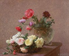 Ignace Henri Jean Fantin-Latour - Poppies in a Crystal Vase, or Basket of Roses, 1890