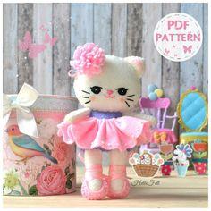 PDF Pattern, Felt Neki Ballerina. Instant Download. Felt Pattern, Doll Pattern.