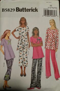 Butterick Pattern B5829 Ladies Top, Pants, Slippers and Bow sizes 16-26 FREE SH