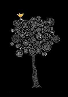 Black and white art prints tree prints pen by PrintsByStellaChili
