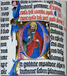 The illuminated letter P in the Malmesbury Bible. The script is blackletter, also known as Gothic script