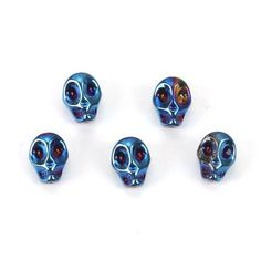 Promotional Events, Beaded Skull, Metallic Blue, Wooden Beads, Aqua Blue, Seed Beads, Glass Beads, Jewelry Design, Pearl Jewelry