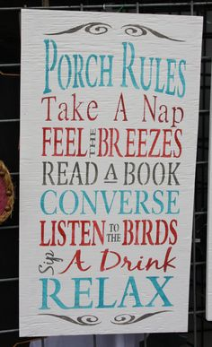 Porch Rules - Hand Stenciled Wooden Sign.  Find this and more in my Etsy shop.  www.etsy.com/shops/letsgojunking