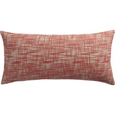 """CB2 format red-orange 23""""x11"""" pillow with feather-down insert"""