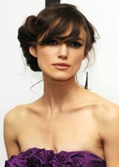 Simple Updo Curls Haircut with Side Swept Bangs Hair for Women