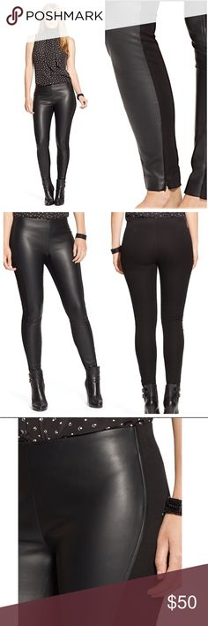 """🆕 Ralph Lauren Women's Faux-leather Skinny A chic faux-leather front and a stretch ponte back give this legging a sleek skinny fit with maximum comfort. Style it with booties and a feminine blouse for a night out. 29"""" inseam, an 11"""" rise and an 11½"""" zip leg-opening for easy pull on. Elasticized waist. Front panel: 100% polyurethane. Back panel: 68% viscose, 27% nylon, 5% elastane. Machine washable. Lauren Ralph Lauren Pants Skinny"""