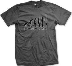 Evolution Of Man Fisherman Mens T-shirt Hilarious Funny Fishing Mens Shirt Large Charcoal
