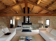 pecchio-casabassot-mansarda1 #cosedicasa suspended #fireplace with black exposed flue