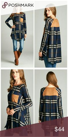 Coming Soon Plaid Suede Top Plaid hacci top featuring suede contrast.  Made in USA Tops Tees - Long Sleeve