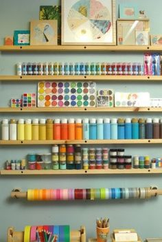 How to clean and organize your craft room. Ideas for saving space and time by Queen Bubble Bee.