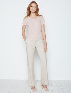 Cotton Twill Boyfriend Trousers £89 - Following the success of our Capri and Straight leg trousers both in this same exclusive cotton stretch fabric we have now introduced the flat-fronted, easy leg, full length trouser. There are belt loops so you can accessorize with a belt. Wear with heels or flats – the leg shape works with either.