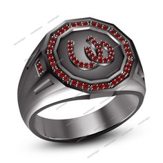 Attractive Round Red Garnet 925 Sterling Silver Black Gold Plated Horseshoe Ring #HorseshoeRing