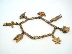 Vintage Gold Tone Heavy OTTAWA Canada Charm Bracelet
