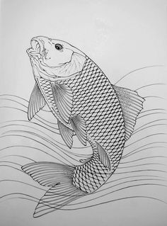 I simply appreciate the tones, lines, and depth. This is really an excellent choice if you want a Japanese Drawings, Fish Drawings, Horse Drawings, Japanese Prints, Japanese Koi Fish Tattoo, Japanese Bird, Japanese Tattoos, Koi Dragon Tattoo, Dragon Art