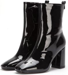 NEW-Ladies-Womens-Black-Patent-Med-Block-Heel-zip-Ankle-Boots-Size-3-4-5-6-7-8