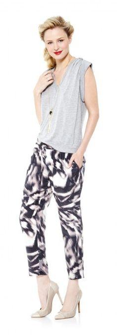 Tassel necklace, Danika almond toe pumps, Black & white swirl pants