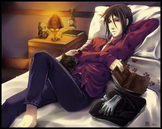 Tags: Anime, Fanart, Kuroshitsuji, Sebastian Michaelis, Hello Kitty