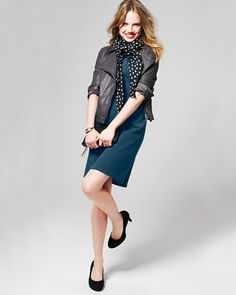 Retro Meets Modern: The new LBD (Little Blue Dress) made of stretch ponte knit flatters absolutely every body — pump it up with a dotty scarf and Eileen Fisher's twill moto jacket.