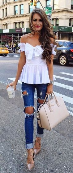 #summer #outfits  White Off The Shoulder Top + Destroyed Skinny Jeans + Blush Leather Tote Bag
