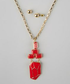 Take a look at this Red Geometric Pendant Necklace & Earrings by PANNEE JEWELRY on #zulily today!