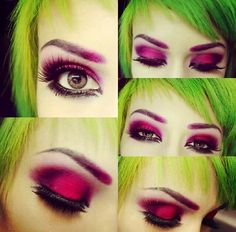 Bright pink eye makeup. Green hair. Bold eyes.