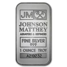 1 oz Johnson Matthey Silver Bar (New-JM LogoReverse) .999 Fine
