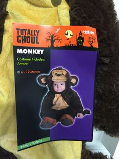 Monkey Costume Infant 6 12 Months Brown Plush One Piece Hood Style Jumpsuit | eBay