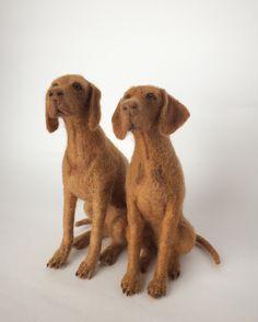 Needle felted Vizslas, dog sculpture.