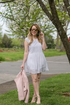 Babydoll Eyelet White Dress for Spring // How to Style a White Dress for Spring
