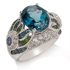 """Victoria Wieck 6.73ct London Blue Topaz and Gem """"Peacock"""" Ring at HSN.com."""