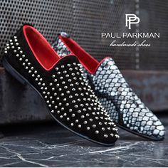 PAUL PARKMAN ® Men's Slipper Shoes - Studded / Spiked Black Suede & Gray Snake Printed Leather
